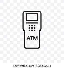Atm machine vector linear icon isolated on transparent background, Atm machine transparency concept can be used for web and mobile