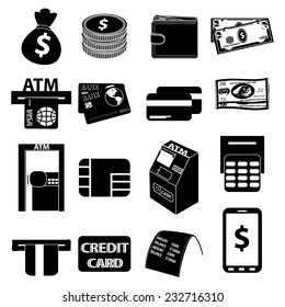 Atm money icons set