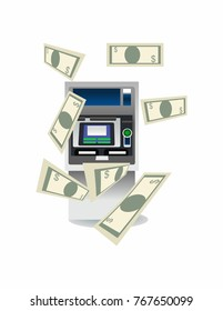 ATM and money on a white background