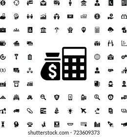 Atm and money sack icon. set of filled business icons. can be used for web and mobile.
