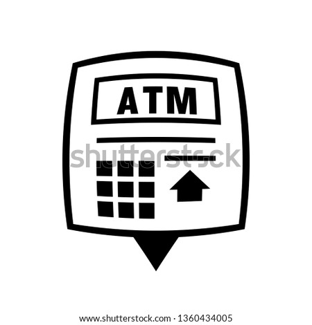 Atm Near Me Pin Icon Clipart Stock Vector Royalty Free 1360434005