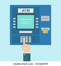 ATM payment vector illustration. ATM machine with hand and credit card. Withdrawing money from card concept. Payment using credit card.