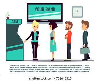 ATM queue with bank adviser - bank service concept. Vector illustration
