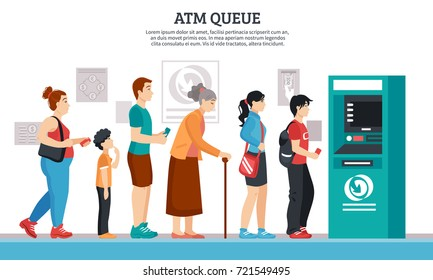 ATM queue with elderly young people and kids flat vector illustration