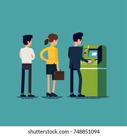 ATM queue. Flat vector illustration on people using automated teller machine. Office workers withdrawing cash and performing other money operations via cash machine