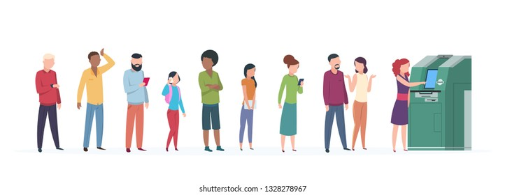 Atm queue. People standing and waiting in line to atm to get money. Using business security automation banking payment vector concept