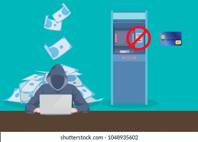 atm skimming hacker steal data from atm card vector graphic illustration