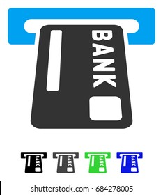 ATM Terminal flat vector icon. ATM Terminal icon with gray, black, blue, green color versions.