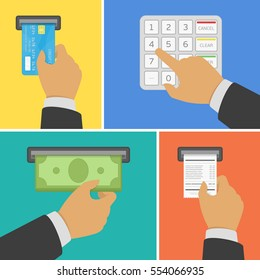 ATM terminal usage concept in four steps. Illustration of payment through the terminal. Hand inserts a credit card into atm, hand dials pin code, hand takes the money from the Atm, hand takes receipt.