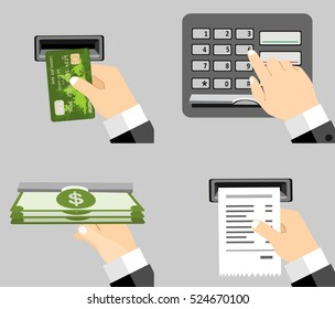 ATM terminal usage vector concept. Payment using credit card. ATM terminal usage.