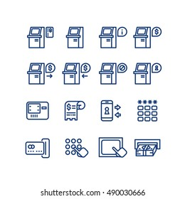 Atm terminal vector thin line icons set. Money and banking service, finance payment transaction illustration