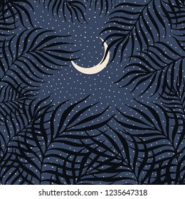 Atmospheric simplified palm leaves night scene with stars and half moon in the background. Trendy minimal vector illustration.