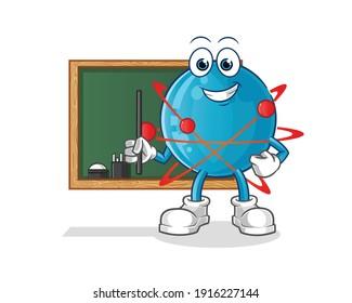 atom character. cartoon mascot vector