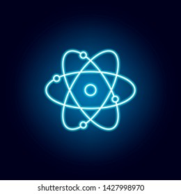 atom, chemistry outline icon in neon style. elements of education illustration line icon. signs, symbols can be used for web, logo, mobile app, UI, UX