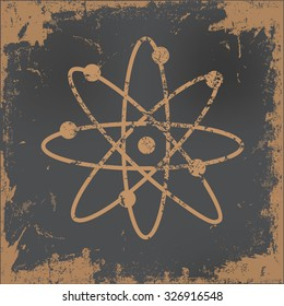 Atom design on old paper background,vector