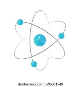 Atom. Electron, nucleus, neutron, proton sign. Educational vector illustration isolated on white background.