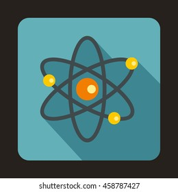 Atom with electrons icon in flat style on a baby blue background