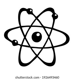 Atom with electrons spinning around the nucleus, symbol, vector, illustration, in black and white color, isolated on white background