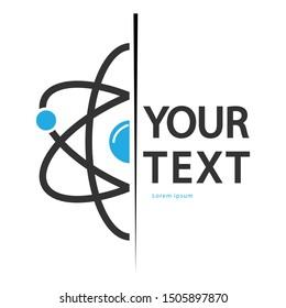 Atom flat logo design , Atom flat icon vector isolated on white background.