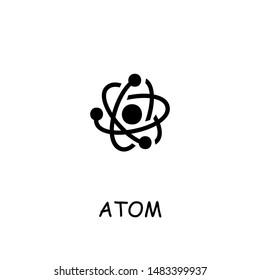 Atom flat vector icon. Hand drawn style design illustrations.