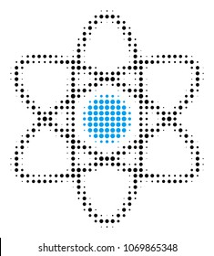 Atom halftone vector pictogram. Illustration style is dotted iconic Atom icon symbol on a white background. Halftone matrix is circle spots.