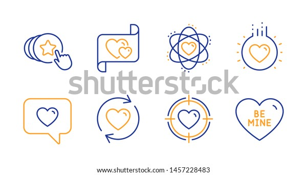 Atom Hold Heart Love Line Icons Stock Vector (Royalty Free