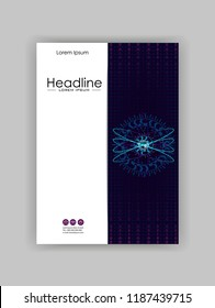 Atom HUD in blue background with numbers and futuristic lines. Good for Portfolio, Brochure, Annual Report, Flyer, Magazine, Academic Journal, Website, Poster, Monograph. Vector.