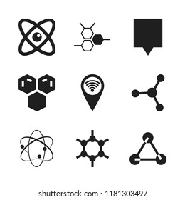 atom icon. 9 atom vector icons set. atomic theory, molecules and map pin icons for web and design about atom theme