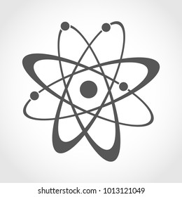 Atom icon in flat design. Gray molecule symbol or atom symbol isolated. Vector illustration.