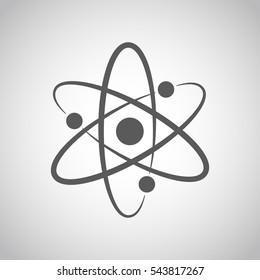 Atom Symbol im flachen Design. Graumolekül-Symbol oder Atom-Symbol einzeln. Vektorgrafik.