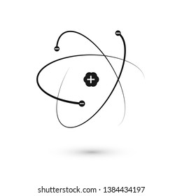 Atom icon. Nucleus and electrons. Vector illustration isolated on white background
