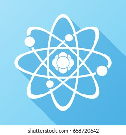 Atom Icon. Science sign. Atom logo. Atomic symbol. Nuclear icon. Electrons and protons