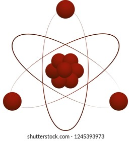 Atom icon. Vector illustration. Nuclear physics symbol of science, scientific . Three electrons rotate in orbits around atomic nucleus. Elementary phisics design. Isolated on a white background