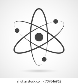 Atom icon. Vector illustration. Symbol of science, education, nuclear physics, scientific research. Three electrons rotate in orbits around atomic nucleus. Concept of elementary particles design.