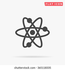 Atom Icon vector. Simple flat symbol. Perfect Black pictogram illustration on white background.