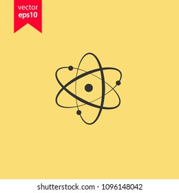 Atom icon. Yellow background. EPS 10 vector sign