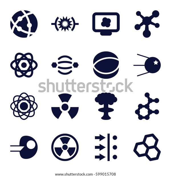 atom icons set. Set of 16 atom filled icons such as radiation, pressure, core, nuclear explosion