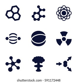 atom icons set. Set of 9 atom filled icons such as radiation, nuclear explosion