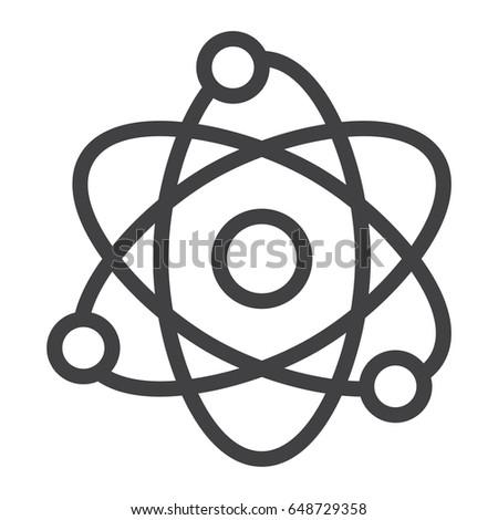 Atom Line Icon Education Physics Vector Stock Vector Royalty Free