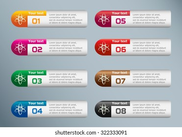 Atom molecule and marketing icons on Infographic design template.