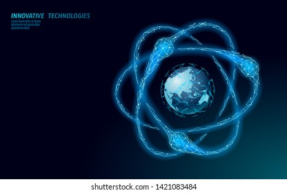 Atom particle sigh on world map. Nuclear military weapons global danger. Atonic power defence country security. Nuke arm international violence treaty concept vector illustration