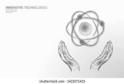 Atom particle sign in hands world map. Nuclear military weapons global danger. Atomic power defence country security. Nuke arm international violence treaty concept vector illustration
