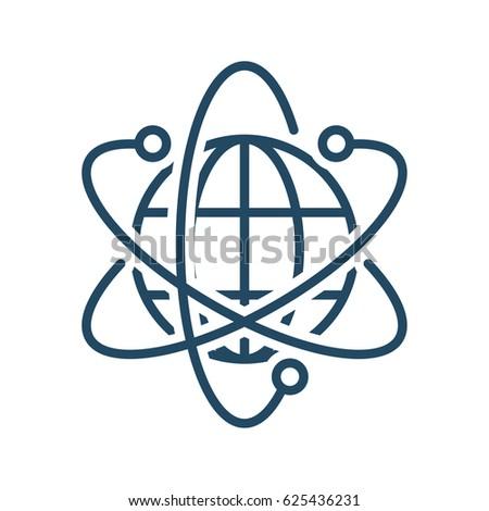 Atom Sign Around Globe Vector Icon Stock Vector Royalty Free