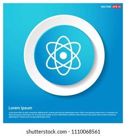 Atom sign icon Abstract Blue Web Sticker Button - Free vector icon