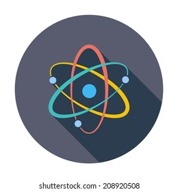 Atom. Single flat color icon. Vector illustration.
