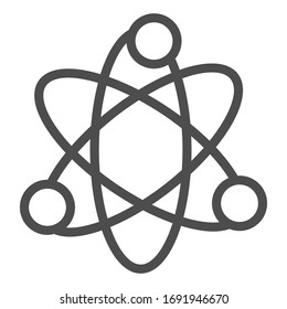 Atom structure line icon. Corpuscle or nuclear model symbol, outline style pictogram on white background. Physics and science sign for mobile concept and web design. Vector graphics