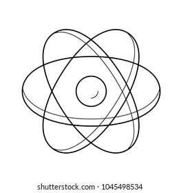 Atom structure line icon isolated on white background. Vector line icon of atom model for infographic, website or app.