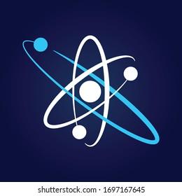 Atom symbol on dark blue background. Atomic symbol. Atomic nucleus sign. Science symbol.