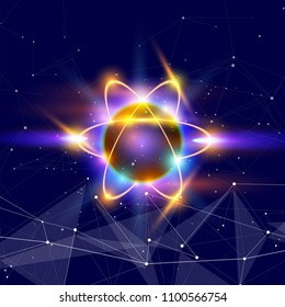 atom - a symbolic image of an elementary particle against a background of deep space with stars & constellations. In the foreground - a digital information wave, symbolizing big data