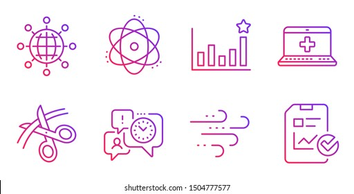 Atom, Time management and Efficacy line icons set. Medical help, Windy weather and International globe signs. Scissors, Report checklist symbols. Electron, Office chat. Science set. Vector